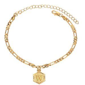 Initial Ankle Bracelets for Women, 18K Gold Silver
